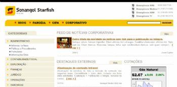 Exemplo de página de listagem de publicações no sistema de intranet.