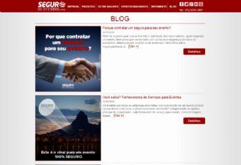 Exemplo de página da área de blog.