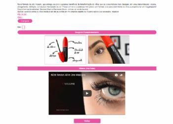 Exemplo de parte da página de detalhes dos produtos, com recurso de incorporação de vídeo do YouTube.