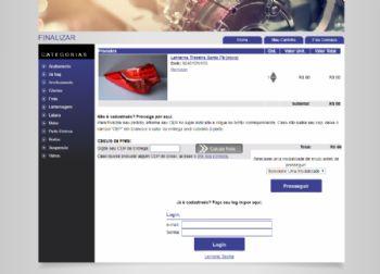Exemplo da página de carrinho de compras para fechar o pedido.