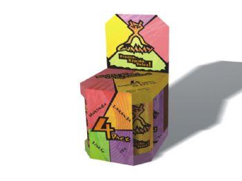 Embalagem promocional com cada sabor.