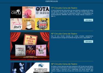 Exemplo de página dos espetáculos realizados.