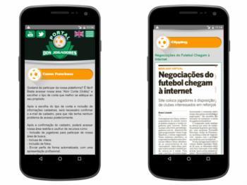 Versão mobile - exemplo de página institucional e clipping.
