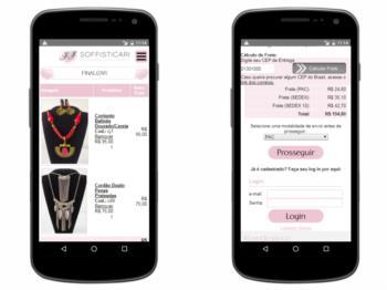 Página de carrinho de compras - versão mobile.