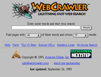 "WebCrawler - anos 90.<div>ref:&nbsp;<a href=""https://appinstitute.com/history-of-the-web-infographic"">https://appinstitute.com/history-of-the-web-infographic</a></div>"