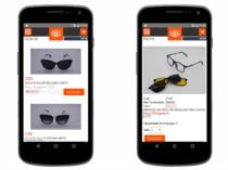 Versão mobile - exemplo das telas de listagem de produtos e detalhes dos produtos.
